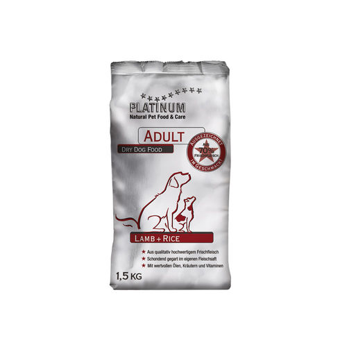 PLATINUM Adult Lamb+Rice 1,5 kg